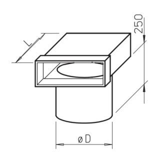 Coude vertical mixte pour bouche - (FK-EV) [- Conduits plats en acier galvanisé - Helios]