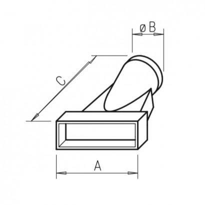 Raccord mixte - FK-U [- Conduits plats en acier galvanisé - Helios]