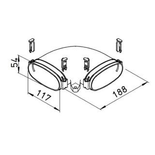 Coude horizontal pour conduit plat FlexPipe - FRS-BH 51 [- Conduits et accessoires VMC en PE-HD - Réseau FlexPipe - Helios]