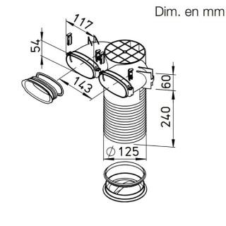 Plénum terminal coudé pour conduits plats 51 mm [- FRS-DKV 2-51/125 - Réseau FlexPipe - Helios]