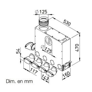 Collecteur universel 4+1 piquages pour conduits plats 51 mm [- FRS-MVK 4+1-51/125 - Réseau FlexPipe - Helios]