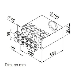 Collecteur intermédiaire 10 piquages pour conduits ronds Ø 75 mm [- FRS-VK 10-75/160 - Réseau FlexPipe - Helios]