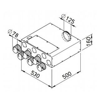 Collecteur extra-plat 6 piquages Ø 75 mm [*- FRS-FVK 6-75/125 - Réseau FlexPipe - Helios]
