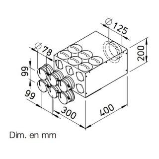 Collecteur intermédiaire 6 piquages Ø 75 mm [- FRS-VK 6-75/125 - Réseau FlexPipe - Helios]
