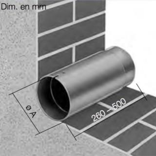 Manchon mural télescopique sans grille pour MiniVent et HelioVent [- accessoire VMC - HELIOS]