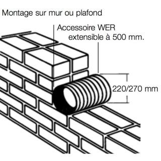Traversée de mur à encastrer pour Extracteurs Ø 200 ou 250 - WER [- accessoire VMC - HELIOS]