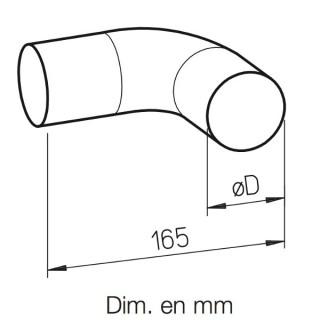 Coude étroit 90° acier galva [- FRS-B 63 ou 75 - Réseau FlexPipe - Helios]
