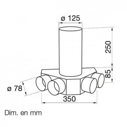 Plénum coudé DN 125 4 piquages (Cuisine) [- FRS-DKV 4-75/125 - Réseau FlexPipe - Helios]