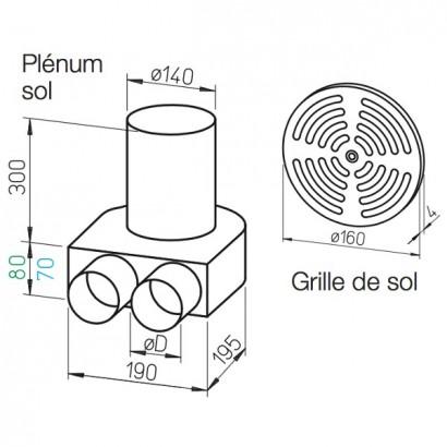 Kit plenum sol DN 140 + grille [- FRS-BKGS 2-63 et 2-75 - Réseau FlexPipe - Helios]