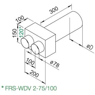 Plénum droit DN 100 ou DN 125 [- FRS-WDV 2-75/100 ou 2-75/125- Réseau FlexPipe - Helios]