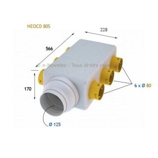 Caisson collecteur d'insufflation NEOCD 80 S - sans régulateurs [- Répartiteur VMC - Atlantic]