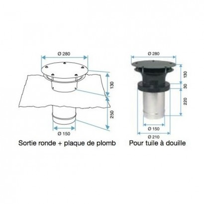 Sortie de toiture ronde Ø 125 et 150 mm [- accessoire VMC - Aldès]