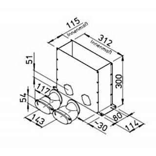 Plénum de sol encastrable pour conduits plats 51 mm [- FRS-MBK 2-51 - Réseau FlexPipe - Helios]
