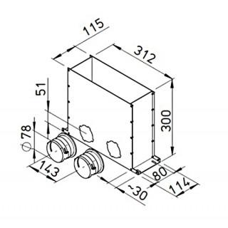 Plénum de sol encastrable pour conduits ronds Ø 75 mm [- FRS-MBK 2-75 - Réseau FlexPipe - Helios]
