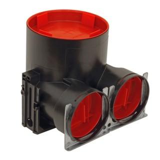 Plénum de bouche coudé TVA-P 75 DN125 - 2 x Ø 75 mm - Hauteur 165 mm [ - Réseau ComfoTube - 990326121 - Zehnder]