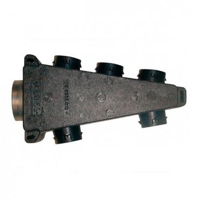 Caisson répartiteur triangulaire isolé 1x Ø 125 / 6x Ø 80 mm - Compatible Réseau PEHD 75 [- Répartiteur VMC Double-flux - Aldès]