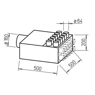 Répartiteur 12 piquages Ø 63 mm [- Collecteur intermédiaire DN 160 FRS-VK 12-63/160 - Réseau FlexPipe - Helios]