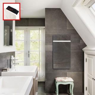 Sèche-serviettes Touch Silicium - TERRE LUNAIRE avec barre inox [- Radiateur Inertie Minéral - VALDEROMA]