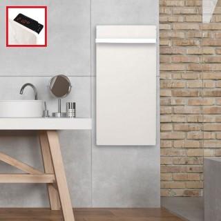 Sèche-serviettes Touch Silicium - BLANC CACHEMIRE avec barre inox [- Radiateur Inertie Minéral - VALDEROMA]