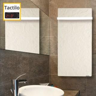 Sèche-serviettes Tactilo - ARDOISE BLANCHE avec barre inox [- Radiateur Inertie Minéral - VALDEROMA]