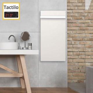 Sèche-serviettes Tactilo - BLANC CACHEMIRE avec barre inox [- Radiateur Inertie Minéral - VALDEROMA]