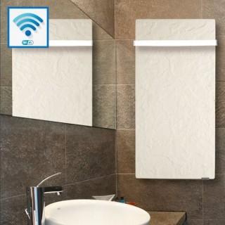 Sèche-serviettes Wifi - ARDOISE BLANCHE avec barre inox [- Radiateur Inertie Minéral - VALDEROMA]