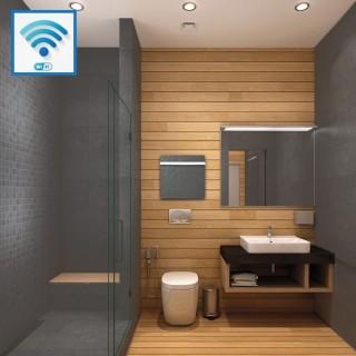 Sèche-serviettes Wifi - ARDOISE NOIRE avec barre inox [- Radiateur Inertie Minéral - VALDEROMA]
