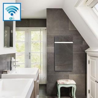 Sèche-serviettes Wifi - TERRE LUNAIRE avec barre inox [- Radiateur Inertie Minéral - VALDEROMA]
