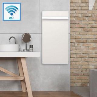Sèche-serviettes Wifi - BLANC CACHEMIRE avec barre inox [- Radiateur Inertie Minéral - VALDEROMA]
