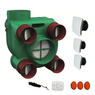 Kit ARIANT ES avec bouches Design carrées [- VMC Simple flux Autoréglable - Très basse consommation - Vortice]