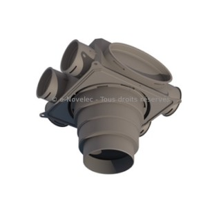 Caisson de distribution 8 piquages - 8X75 ou 90 mm [- Conduits et accessoires VMC en PEHD - Réseau Profi-air - Vortice]