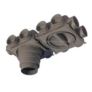 Caisson de distribution 12 piquages - 12X75 ou 90 mm [- Conduits et accessoires VMC en PEHD - Réseau Profi-air - Vortice]