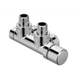 Pack robinetterie thermostatisable en H Coudé - Tête à droite - Chromé [- Monotube / Bitube Entraxe 50 mm - ACOVA]