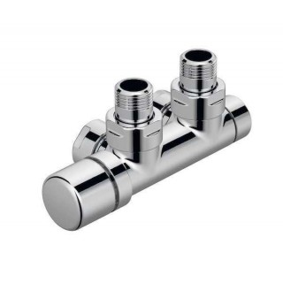 Pack robinetterie thermostatisable en H Coudé - Tête à gauche - Chromé [- Monotube / Bitube Entraxe 50 mm - ACOVA]