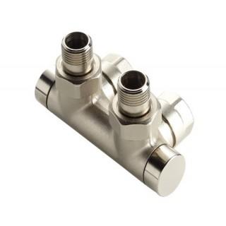 Raccordement en H coudé Nickelé pour FASSANE PACK (VSXD, VLXD, CVXD et CLXD) [- Monotube / Bitube Entraxe 50 mm - ACOVA]