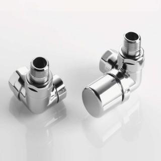 Pack robinetterie équerre d'angle pour radiateur sèche-serviette - robinet à droite - Chromé [- ACOVA]