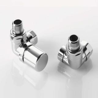 Pack robinetterie équerre d'angle pour radiateur sèche-serviette - robinet à gauche (thermostatisable) - Chromé [- ACOVA]