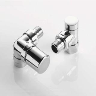 Pack robinetterie équerre d'angle pour radiateur - robinet à gauche (thermostatisable) - Chromé [- ACOVA]