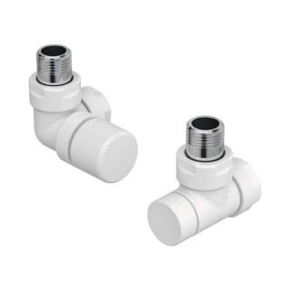 Pack robinetterie équerre d'angle pour radiateur - robinet à gauche (thermostatisable) - Blanc [- ACOVA]