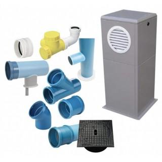 Kits conduits + accessoires (Evacuation par regard extérieur) [- Géoventilation / Puits canadien - Unelvent]