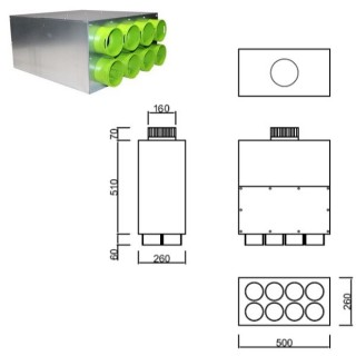Caisson de distribution insonorisée 1 x Ø 160 - 8 x Ø 90 [- Conduits et accessoires VMC en PEHD - Brink]