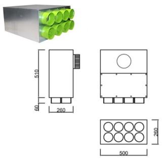 Caisson de distribution insonorisée 1 x Ø 160 à 90°- 8 x Ø 90 [- Conduits et accessoires VMC en PEHD - Brink]