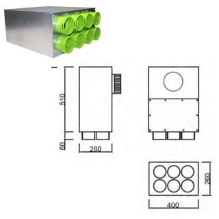 Caisson de distribution insonorisée 1 x Ø 160 à 90°- 6 x Ø 90 [- Conduits et accessoires VMC en PEHD - Brink]