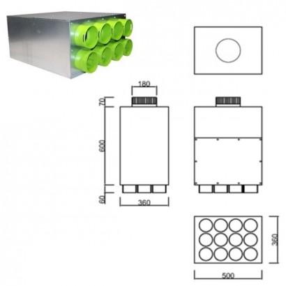 Caisson de distribution insonorisée 1 x Ø 180 - 12 x Ø 90 [- Conduits et accessoires VMC en PEHD - Brink]