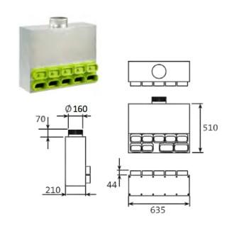 Caisson de distribution insonorisé 1 x Ø 160 - 7 x 50x100mm + 2 x 60x130mm [- Conduits et accessoires VMC en PEHD - Brink]