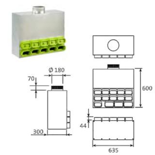 Caisson de distribution insonorisé 1 x Ø 180 - 11 x 50x100mm + 3 x 60x130mm [- Conduits et accessoires VMC en PEHD - Brink]