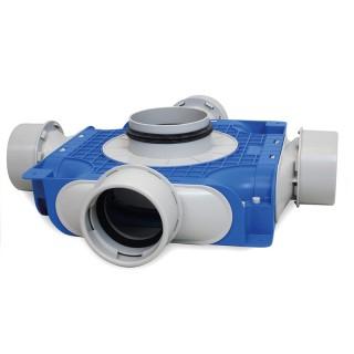 Répartiteur Ø 125 - 4 piquages Ø 90 mm [- TVGS-90-125 - Réseau PEHD Uniflexplus - Ventilair]