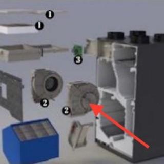 Motoventilateur (moteur + ventilateur) pour DEE FLY CUBE 300 et 370 [- pièce détachée VMC double flux - ALDES]