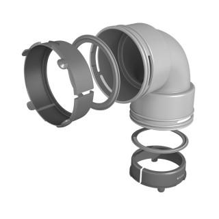Coude 90° circulaire avec joints - Ø ext. 75 ou 90 mm [- Conduits et accessoires VMC en PEHD - Réseau Profi-air - Vortice]