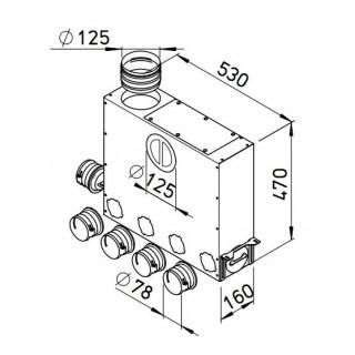 Collecteur universel 4+1 piquages pour conduits ronds Ø 75 mm [- FRS-MVK 4+1-75/125 - Réseau FlexPipe - Helios]